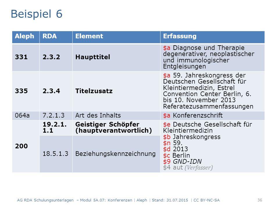 36 Beispiel 6 AG RDA Schulungsunterlagen – Modul 5A.07: Konferenzen | Aleph | Stand: 31.07.2015 | CC BY-NC-SA AlephRDAElementErfassung 3312.3.2Haupttitel $a Diagnose und Therapie degenerativer, neoplastischer und immunologischer Entgleisungen 3352.3.4Titelzusatz $a 59.