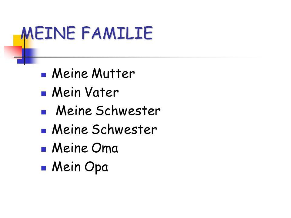 MEINE FAMILIE Meine Mutter Mein Vater Meine Schwester Meine Oma Mein Opa
