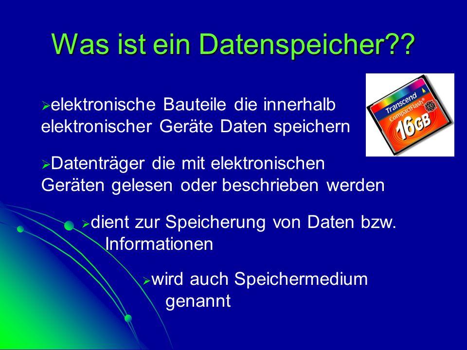 Was ist ein Datenspeicher??  d dient zur Speicherung von Daten bzw. Informationen  w wird auch Speichermedium genannt  D Datenträger die mit ele