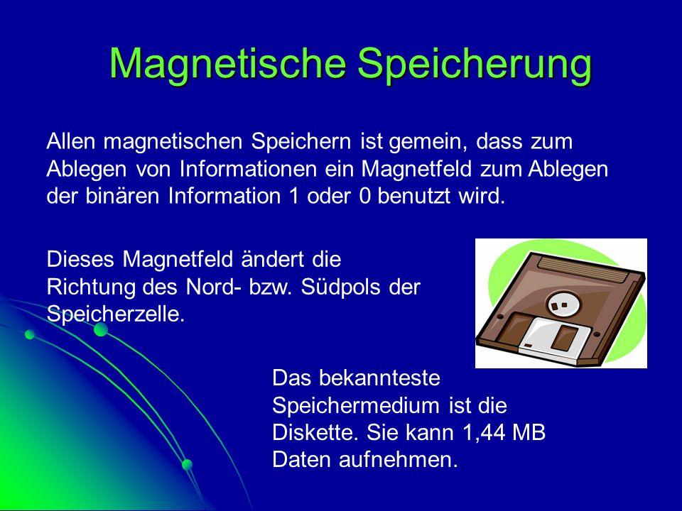 Magnetische Speicherung Allen magnetischen Speichern ist gemein, dass zum Ablegen von Informationen ein Magnetfeld zum Ablegen der binären Information