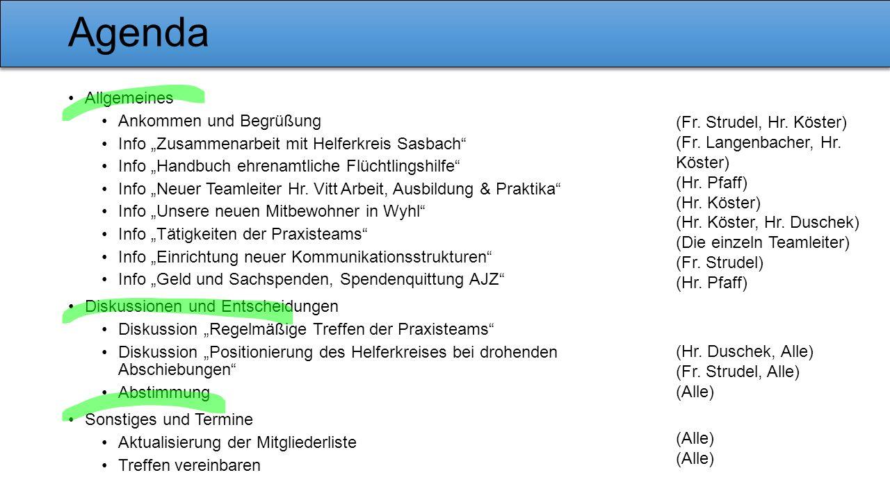 """Agenda Allgemeines Ankommen und Begrüßung Info """"Zusammenarbeit mit Helferkreis Sasbach"""" Info """"Handbuch ehrenamtliche Flüchtlingshilfe"""" Info """"Neuer Tea"""