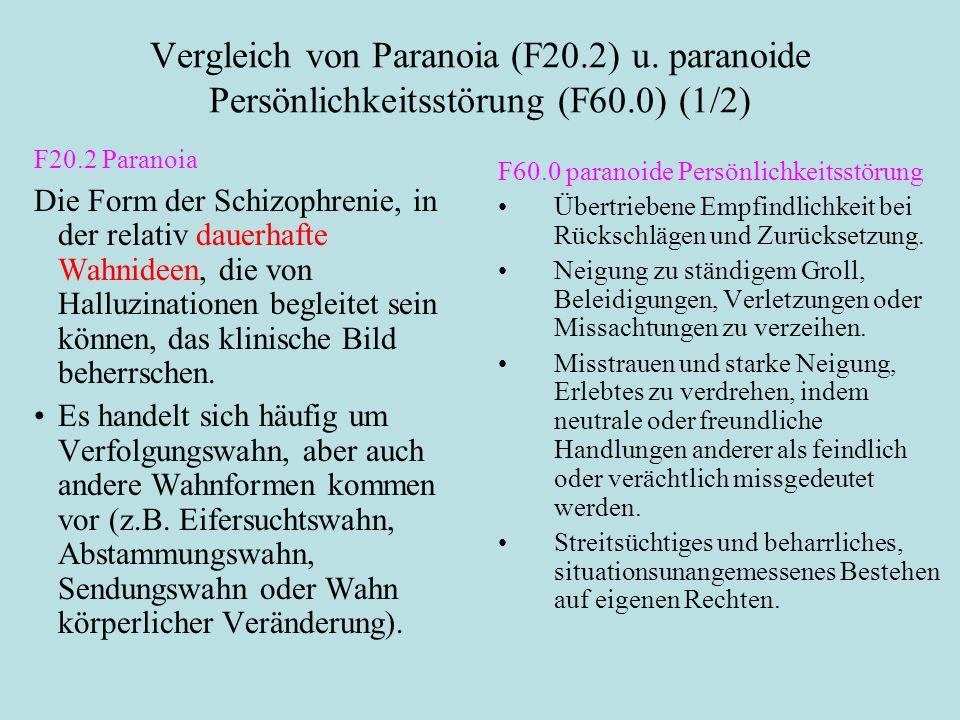 Vergleich von Paranoia (F20.2) u. paranoide Persönlichkeitsstörung (F60.0) (1/2) F20.2 Paranoia Die Form der Schizophrenie, in der relativ dauerhafte