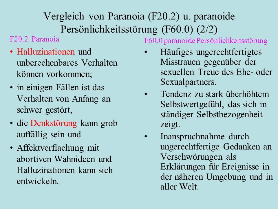 Vergleich von Paranoia (F20.2) u. paranoide Persönlichkeitsstörung (F60.0) (2/2) F20.2 Paranoia Halluzinationen und unberechenbares Verhalten können v