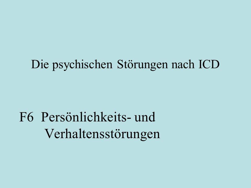 Gliederung der Vorlesung 1.Einführung in das Thema und Geschichte der Psychiatrie und Psychopathologie 2.Die Paradigmen der Klinischen Psychologie 3.Die Bindungstheorie als Paradigma für eine bewährte klinische Theorie 4.Klassifikationssyteme ICD und DSM 5.Die psychischen Störungen nach ICD 5.1 Organische Störungen und Suchterkrankungen (F0, F1) 5.2 Schizophrenie (F2) 5.3 Affektive Störungen (F3) 5.4 Neurotische, Belastungs- und somatoforme Störungen (F4) 5.5 Verhaltenauffälligkeiten mit körperlichen Störungen und Faktoren (F5) 5.6 Persönlichkeits- und Verhaltenstörungen (F6) 5.7 Intelligenzminderungen (F7), Entwicklungsstörungen (F8), Störungen im Kindes- und Jugendalter (F9) und nicht näher bezeichnete psychische Störungen (F99)