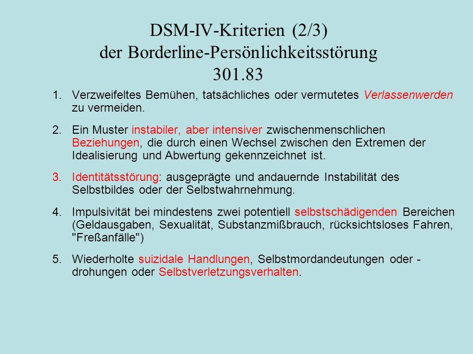 DSM-IV-Kriterien (2/3) der Borderline-Persönlichkeitsstörung 301.83 1. Verzweifeltes Bemühen, tatsächliches oder vermutetes Verlassenwerden zu vermeid