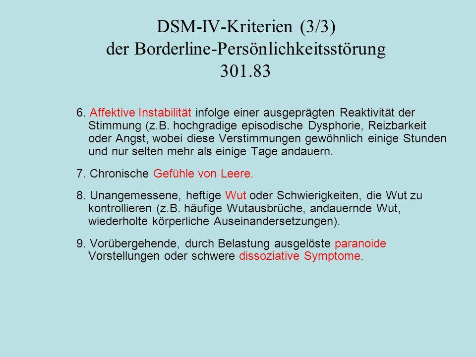 DSM-IV-Kriterien (3/3) der Borderline-Persönlichkeitsstörung 301.83 6. Affektive Instabilität infolge einer ausgeprägten Reaktivität der Stimmung (z.B
