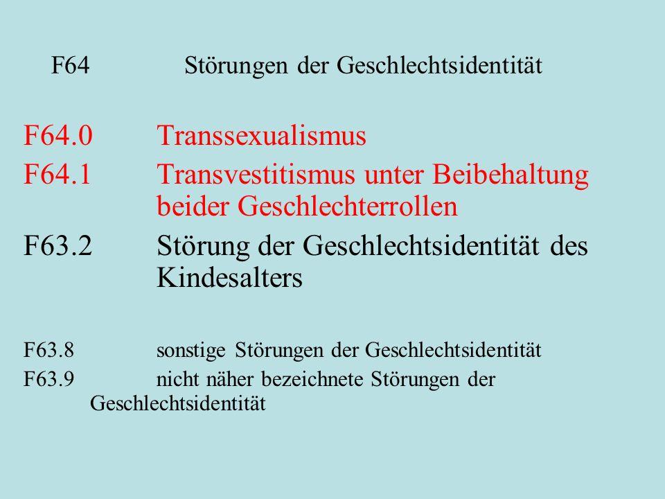 F64 Störungen der Geschlechtsidentität F64.0Transsexualismus F64.1Transvestitismus unter Beibehaltung beider Geschlechterrollen F63.2Störung der Gesch