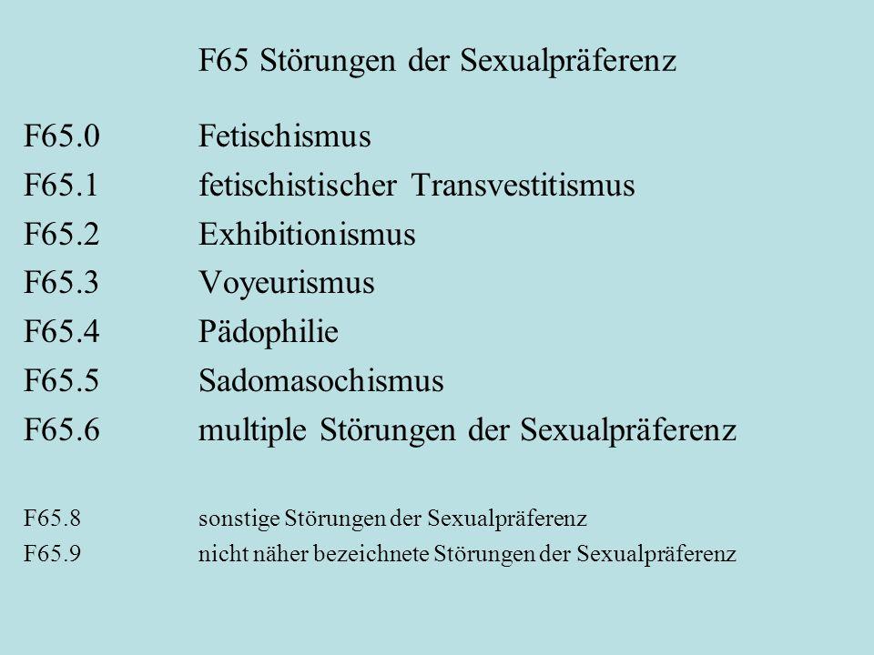 F65 Störungen der Sexualpräferenz F65.0 Fetischismus F65.1 fetischistischer Transvestitismus F65.2 Exhibitionismus F65.3 Voyeurismus F65.4 Pädophilie
