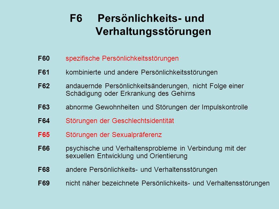 F60spezifische Persönlichkeitsstörungen F60.0paranoide Persönlichkeitsstörung F60.1schizoide Persönlichkeitsstörung F60.2dissoziale Persönlichkeitsstörung F60.3emotional instabile Persönlichkeit.30impulsiver Typus.31Borderline Typus F60.4histrionische Persönlichkeitsstörung F60.5anankastische Persönlichkeitsstörung F60.6ängstliche (vermeidende) Persönlichkeitsstörung F60.7abhängige Persönlichkeitsstörung F60.8sonstige näher bezeichnete Persönlichkeitsstörungen F60.9nicht näher bezeichnete Persönlichkeitsstörung