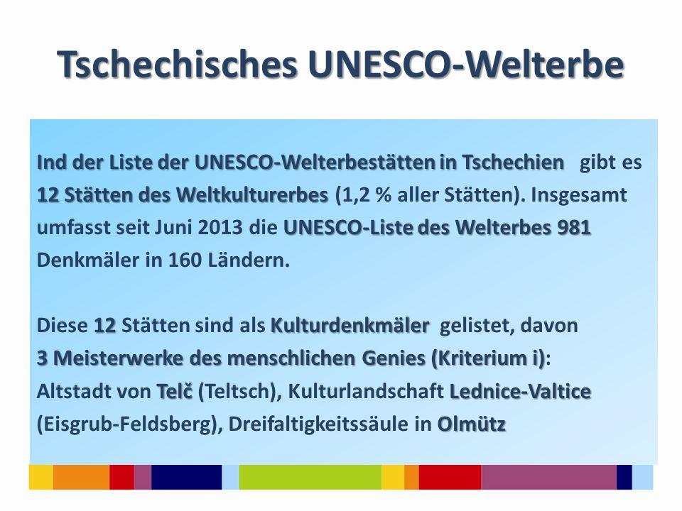 Tschechisches UNESCO-Welterbe Ind der Liste der UNESCO-Welterbestätten in Tschechien Ind der Liste der UNESCO-Welterbestätten in Tschechien gibt es 12 Stätten des Weltkulturerbes 12 Stätten des Weltkulturerbes (1,2 % aller Stätten).