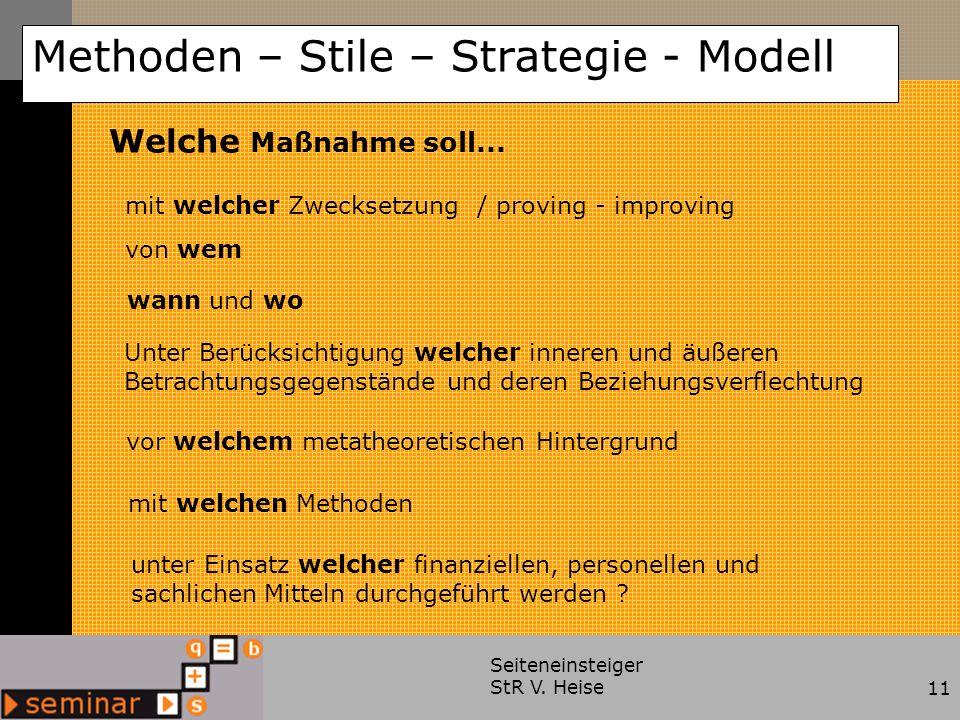 Seiteneinsteiger StR V. Heise11 Methoden – Stile – Strategie - Modell Welche Maßnahme soll... mit welcher Zwecksetzung / proving - improving von wem w