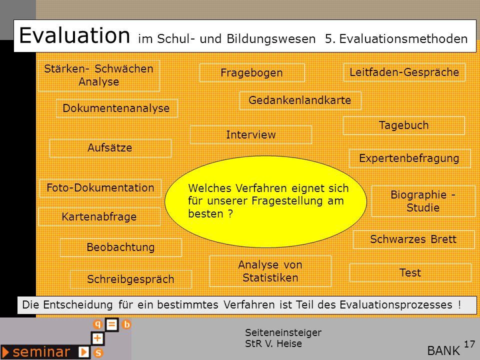 Seiteneinsteiger StR V. Heise17 Evaluation im Schul- und Bildungswesen 5. Evaluationsmethoden BANK Welches Verfahren eignet sich für unserer Fragestel