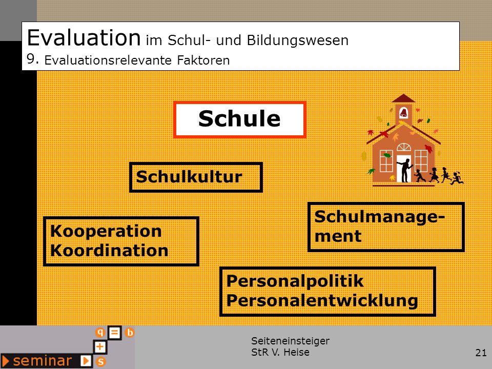 Seiteneinsteiger StR V. Heise21 Evaluation im Schul- und Bildungswesen 9. Evaluationsrelevante Faktoren Kooperation Koordination Schulkultur Personalp