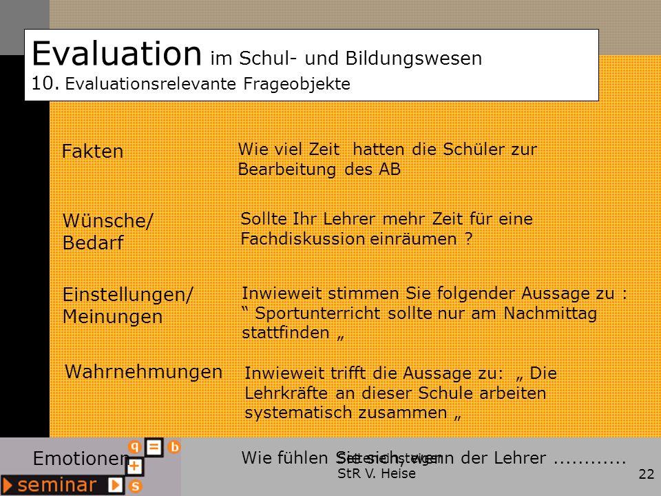 Seiteneinsteiger StR V. Heise22 Evaluation im Schul- und Bildungswesen 10. Evaluationsrelevante Frageobjekte Fakten Wünsche/ Bedarf Einstellungen/ Mei