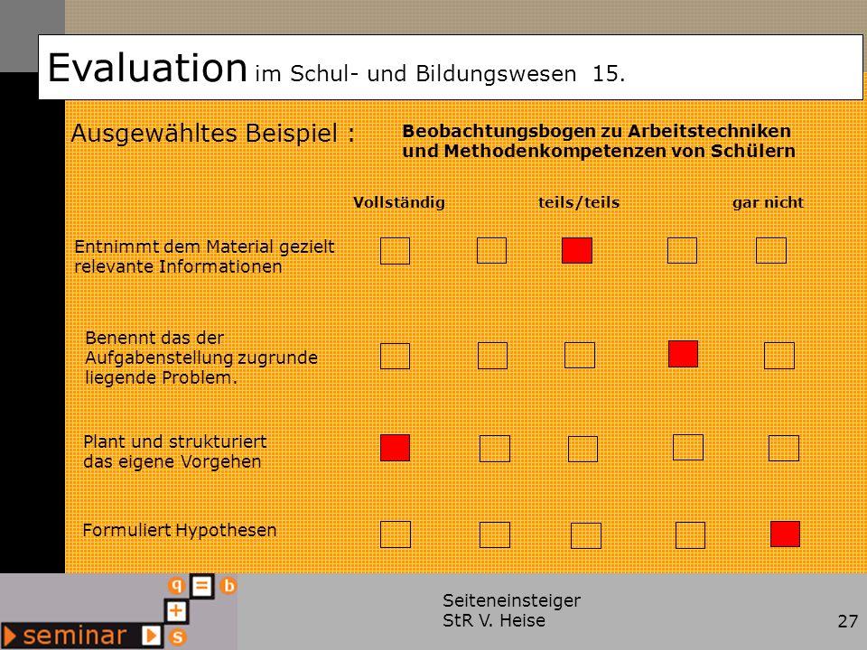 Seiteneinsteiger StR V. Heise27 Ausgewähltes Beispiel : Evaluation im Schul- und Bildungswesen 15. Beobachtungsbogen zu Arbeitstechniken und Methodenk