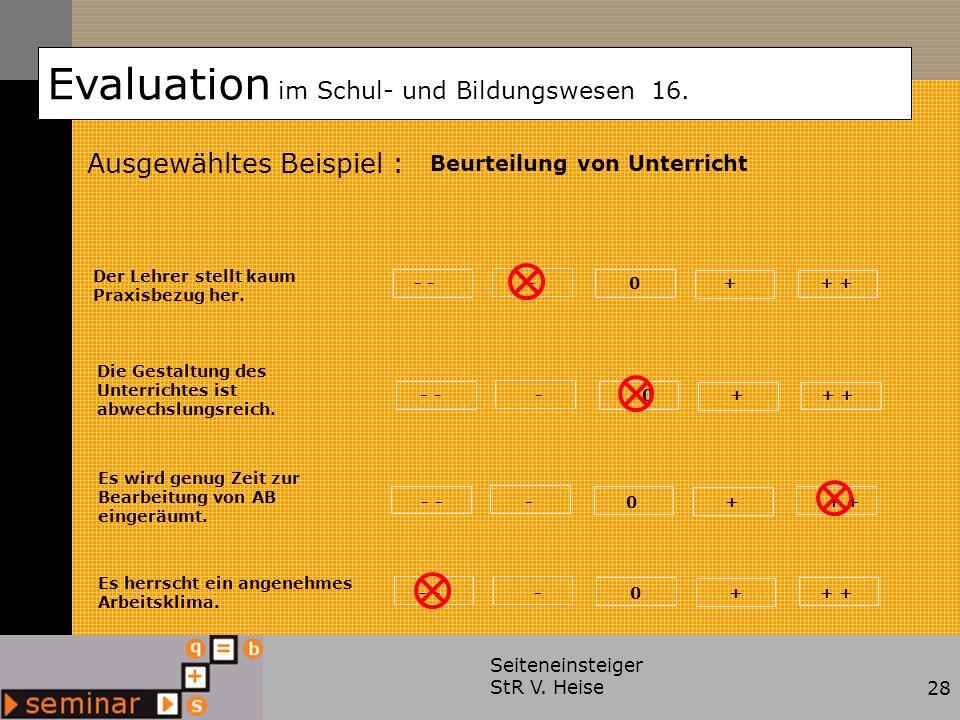 Seiteneinsteiger StR V. Heise28 Ausgewähltes Beispiel : Evaluation im Schul- und Bildungswesen 16. Beurteilung von Unterricht Der Lehrer stellt kaum P