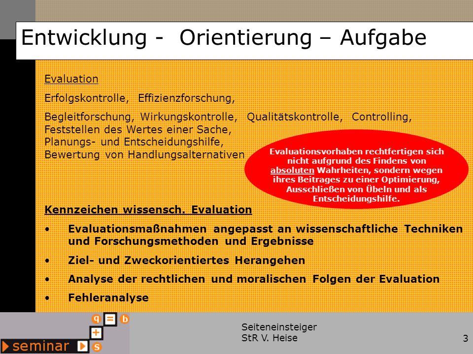 Seiteneinsteiger StR V. Heise3 Entwicklung - Orientierung – Aufgabe Evaluation Erfolgskontrolle, Effizienzforschung, Begleitforschung, Wirkungskontrol