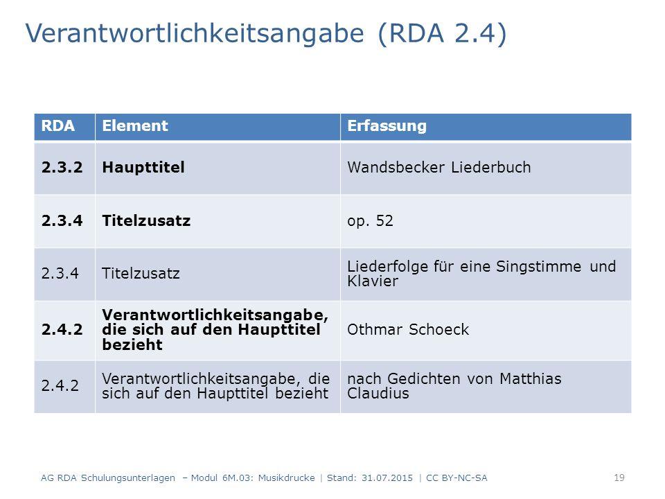 Verantwortlichkeitsangabe (RDA 2.4) AG RDA Schulungsunterlagen – Modul 6M.03: Musikdrucke | Stand: 31.07.2015 | CC BY-NC-SA 19 RDAElementErfassung 2.3