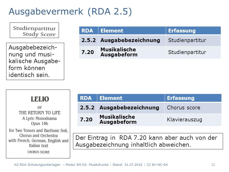 Ausgabevermerk (RDA 2.5) AG RDA Schulungsunterlagen – Modul 6M.03: Musikdrucke | Stand: 31.07.2015 | CC BY-NC-SA 22 RDAElementErfassung 2.5.2Ausgabebe