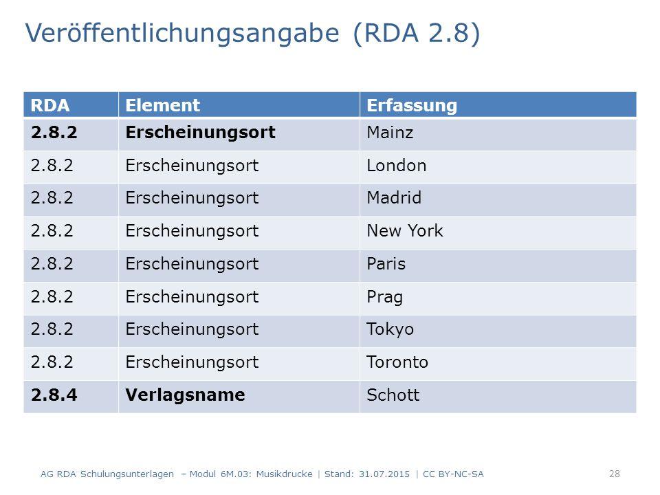 Veröffentlichungsangabe (RDA 2.8) AG RDA Schulungsunterlagen – Modul 6M.03: Musikdrucke | Stand: 31.07.2015 | CC BY-NC-SA 28 RDAElementErfassung 2.8.2