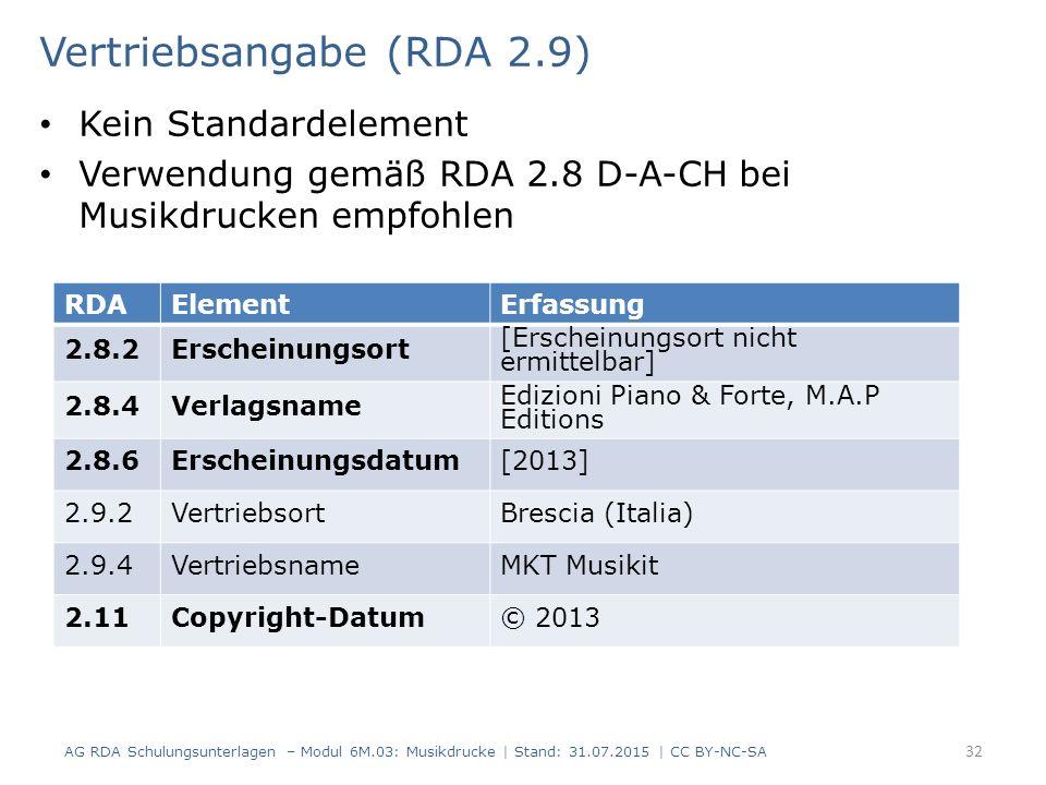 Vertriebsangabe (RDA 2.9) Kein Standardelement Verwendung gemäß RDA 2.8 D-A-CH bei Musikdrucken empfohlen AG RDA Schulungsunterlagen – Modul 6M.03: Mu