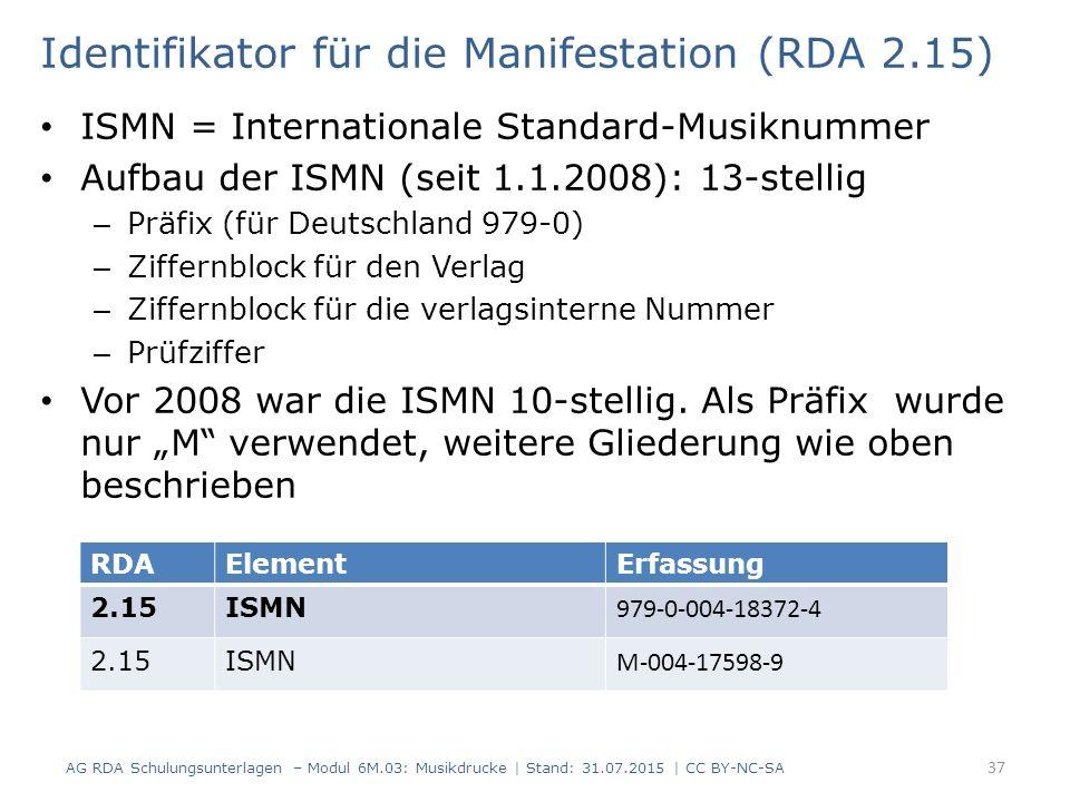 Identifikator für die Manifestation (RDA 2.15) ISMN = Internationale Standard-Musiknummer Aufbau der ISMN (seit 1.1.2008): 13-stellig – Präfix (für De