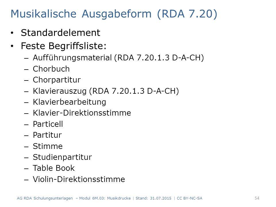 Musikalische Ausgabeform (RDA 7.20) Standardelement Feste Begriffsliste: – Aufführungsmaterial (RDA 7.20.1.3 D-A-CH) – Chorbuch – Chorpartitur – Klavi