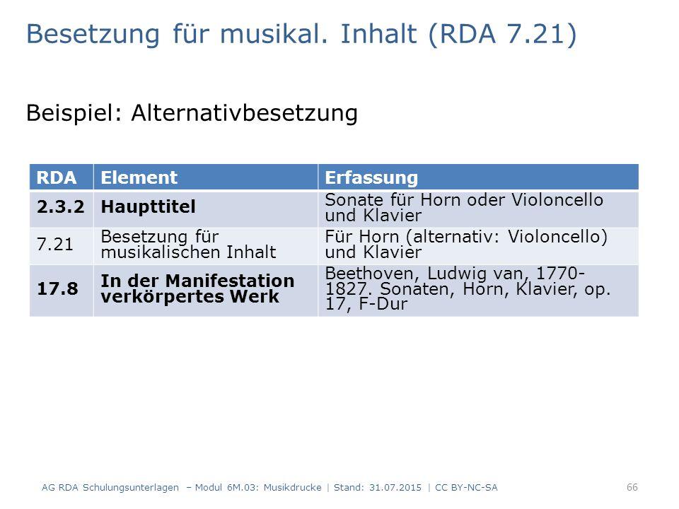 Besetzung für musikal. Inhalt (RDA 7.21) Beispiel: Alternativbesetzung AG RDA Schulungsunterlagen – Modul 6M.03: Musikdrucke | Stand: 31.07.2015 | CC