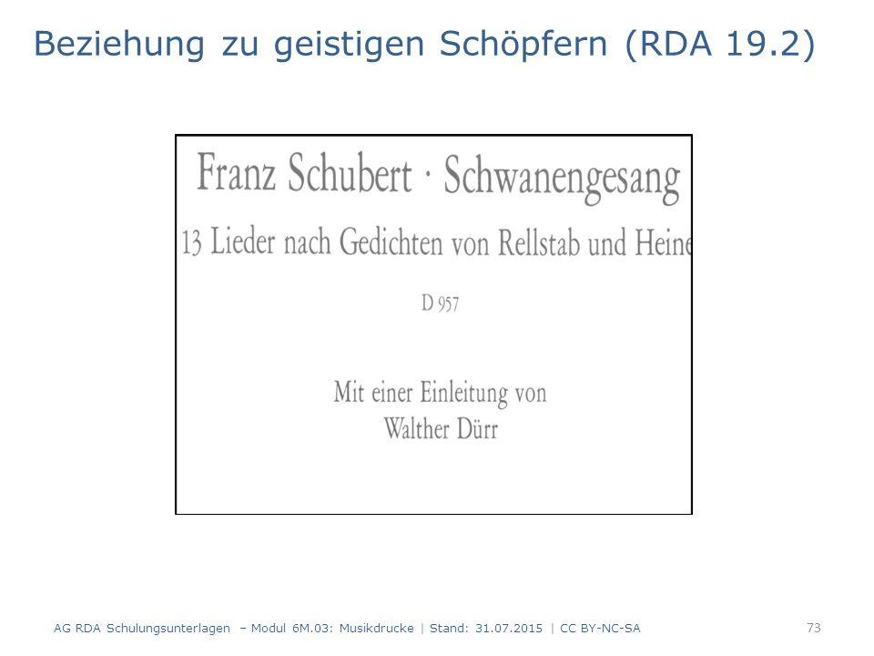 Beziehung zu geistigen Schöpfern (RDA 19.2) AG RDA Schulungsunterlagen – Modul 6M.03: Musikdrucke | Stand: 31.07.2015 | CC BY-NC-SA 73