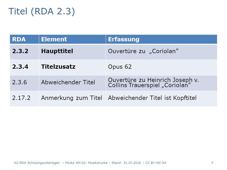 Titel (RDA 2.3) AG RDA Schulungsunterlagen – Modul 6M.03: Musikdrucke | Stand: 31.07.2015 | CC BY-NC-SA 9 RDAElementErfassung 2.3.2HaupttitelOuvertüre