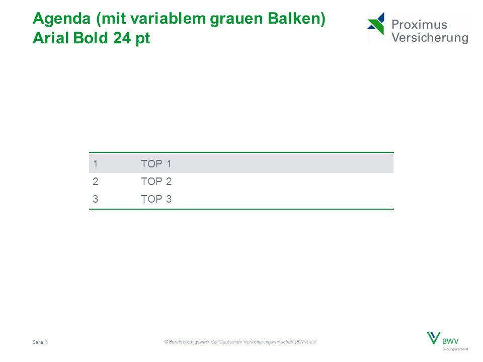 Seite © Berufsbildungswerk der Deutschen Versicherungswirtschaft (BWV) e.V. 1TOP 1 2TOP 2 3TOP 3 3 Agenda (mit variablem grauen Balken) Arial Bold 24