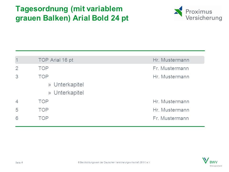 Seite © Berufsbildungswerk der Deutschen Versicherungswirtschaft (BWV) e.V. 1TOP Arial 16 ptHr. Mustermann 2TOPFr. Mustermann 3TOPHr. Mustermann »Unte