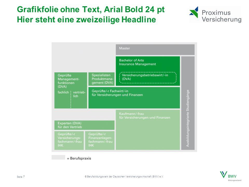 Seite © Berufsbildungswerk der Deutschen Versicherungswirtschaft (BWV) e.V. Grafikfolie ohne Text, Arial Bold 24 pt Hier steht eine zweizeilige Headli
