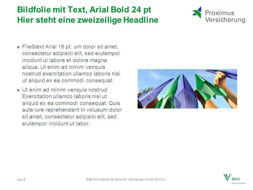 Seite © Berufsbildungswerk der Deutschen Versicherungswirtschaft (BWV) e.V. Bildfolie mit Text, Arial Bold 24 pt Hier steht eine zweizeilige Headline