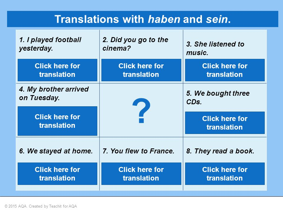 © 2015 AQA. Created by Teachit for AQA Translations with haben and sein.