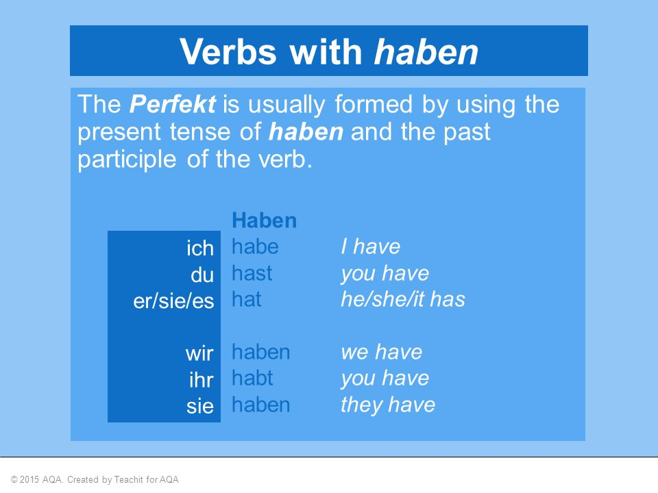 © 2015 AQA. Created by Teachit for AQA Verbs with haben The Perfekt is usually formed by using the present tense of haben and the past participle of t