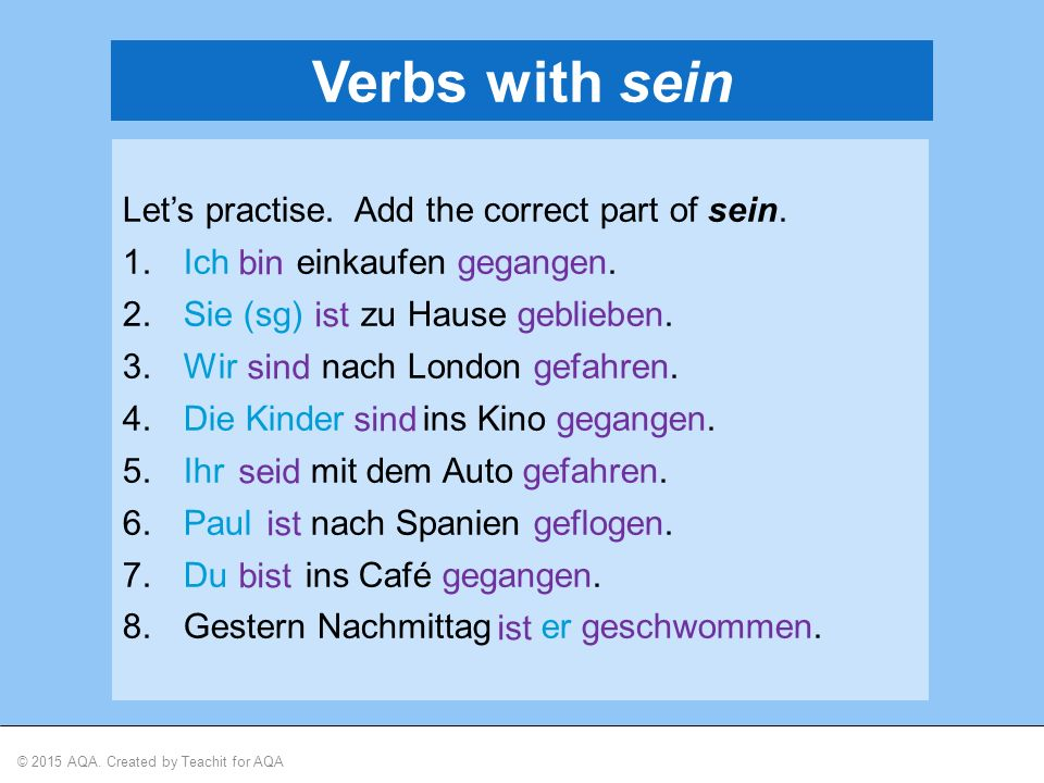 © 2015 AQA.Created by Teachit for AQA The verbs below form the perfect tense with sein.