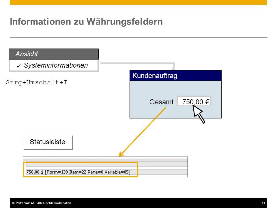 ©2013 SAP AG. Alle Rechte vorbehalten.11 Systeminformationen Informationen zu Währungsfeldern Gesamt750,00 € Kundenauftrag Statusleiste Ansicht Strg+U