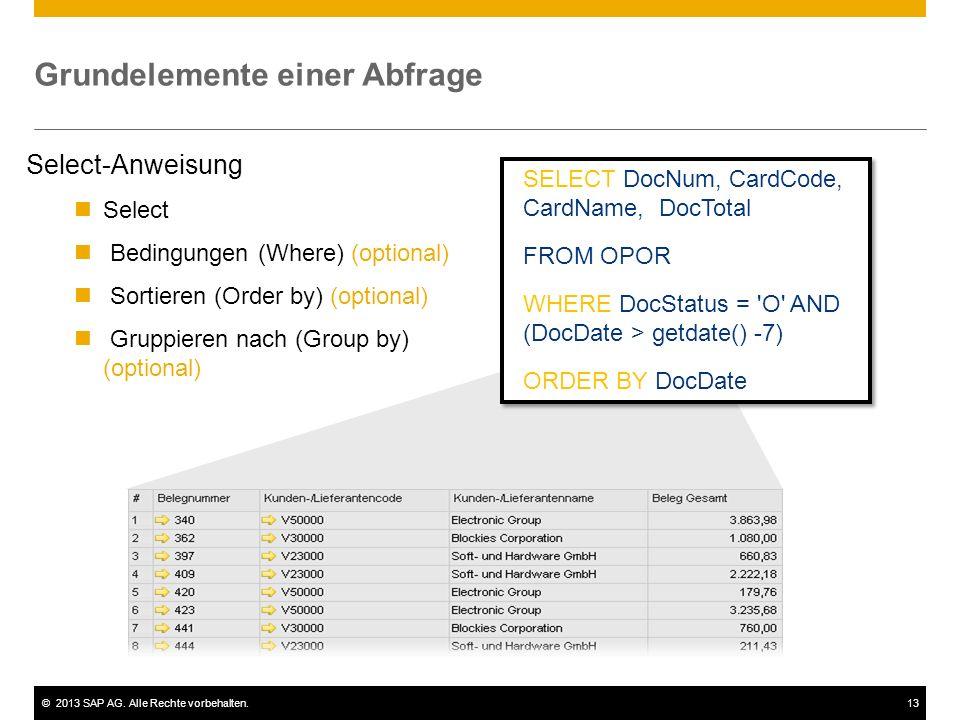 ©2013 SAP AG. Alle Rechte vorbehalten.13 Grundelemente einer Abfrage Select-Anweisung Select Bedingungen (Where) (optional) Sortieren (Order by) (opti