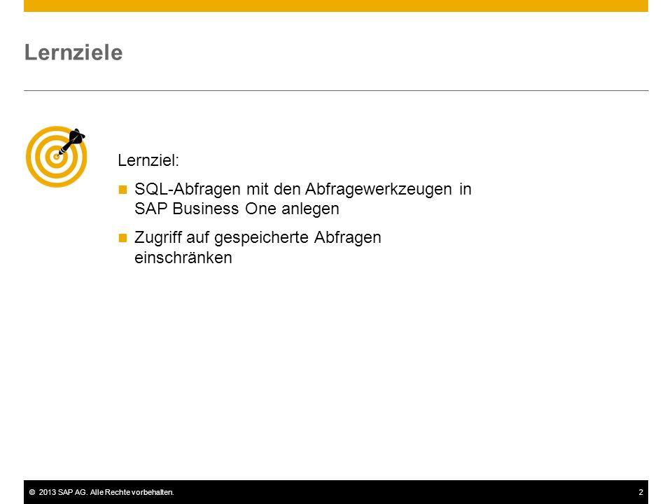 ©2013 SAP AG. Alle Rechte vorbehalten.2 Lernziele Lernziel: SQL-Abfragen mit den Abfragewerkzeugen in SAP Business One anlegen Zugriff auf gespeichert