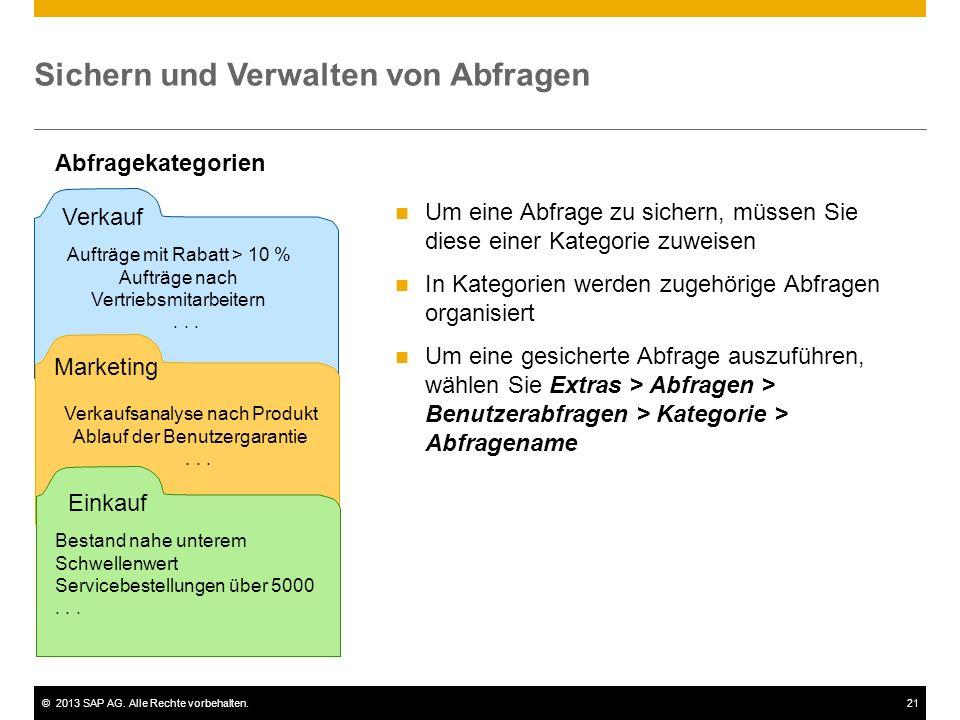 ©2013 SAP AG. Alle Rechte vorbehalten.21 Sichern und Verwalten von Abfragen Abfragekategorien Verkauf Aufträge mit Rabatt > 10 % Aufträge nach Vertrie