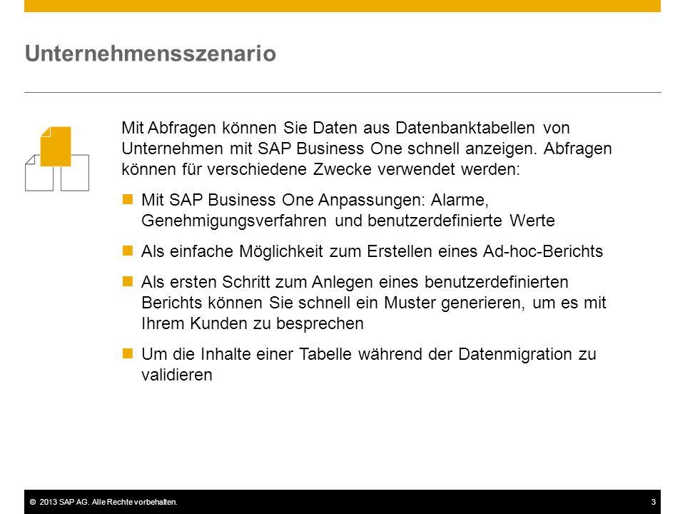 ©2013 SAP AG. Alle Rechte vorbehalten.3 Unternehmensszenario Mit Abfragen können Sie Daten aus Datenbanktabellen von Unternehmen mit SAP Business One