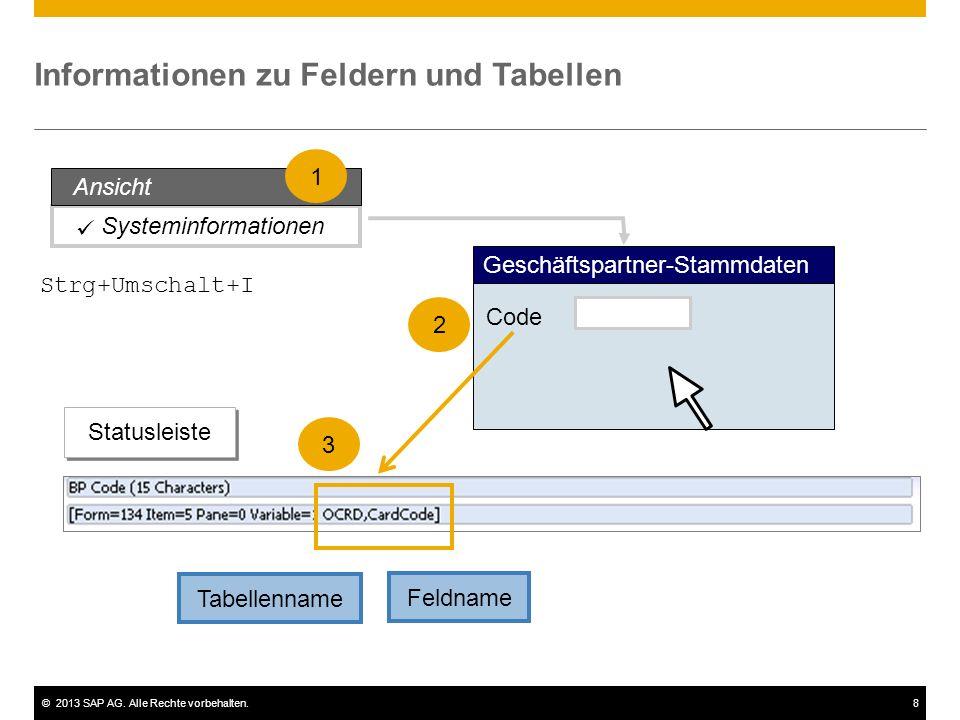 ©2013 SAP AG. Alle Rechte vorbehalten.8 Informationen zu Feldern und Tabellen Tabellenname Feldname Systeminformationen Geschäftspartner-Stammdaten Co