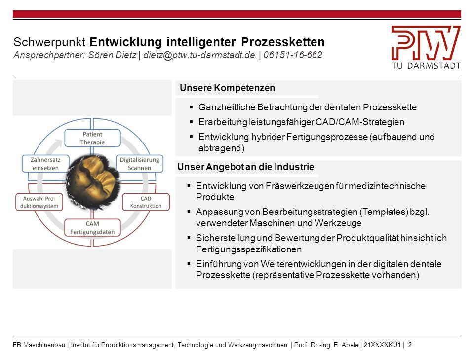 FB Maschinenbau | Institut für Produktionsmanagement, Technologie und Werkzeugmaschinen | Prof. Dr.-Ing. E. Abele | 21XXXXKÜ1 | 2 Schwerpunkt Entwickl