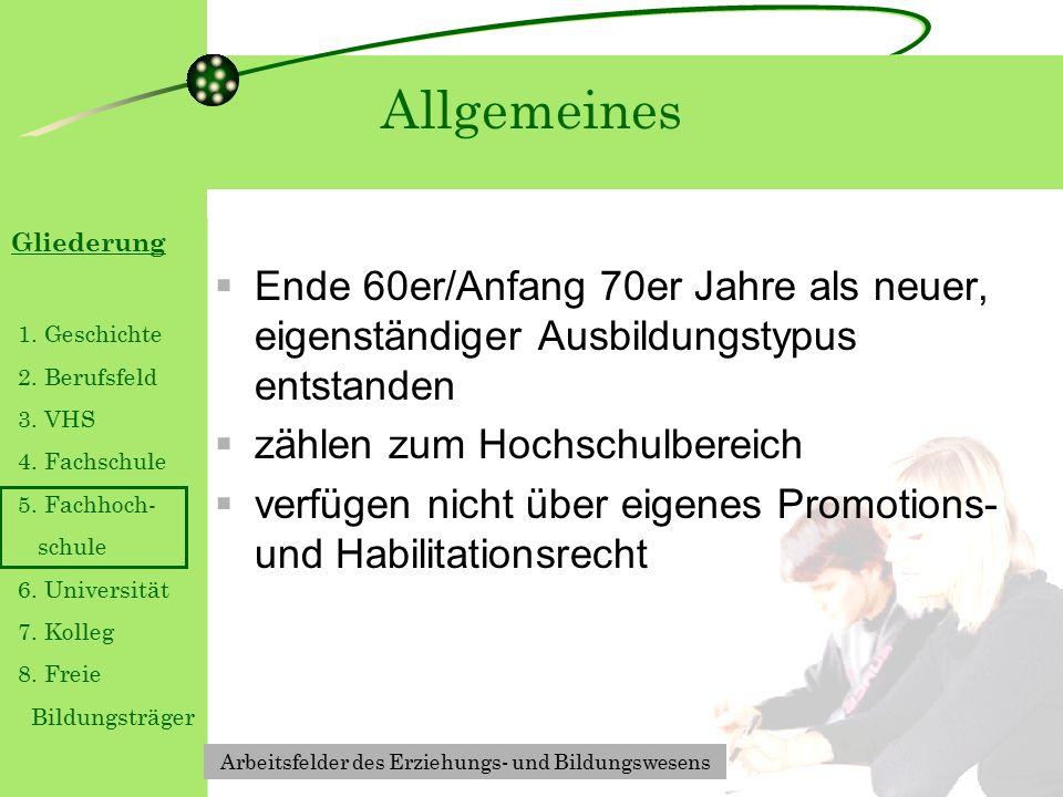 Gliederung 1. Geschichte 2. Berufsfeld 3. VHS 4.