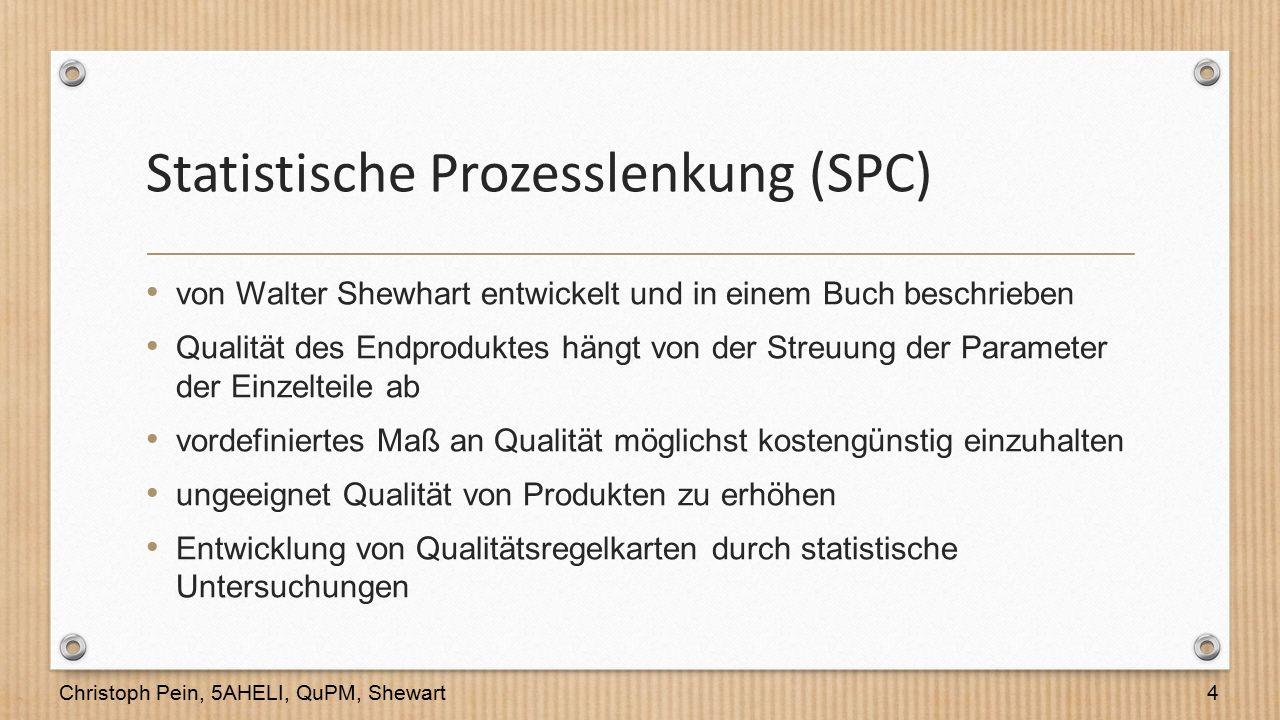 Statistische Prozesslenkung (SPC) von Walter Shewhart entwickelt und in einem Buch beschrieben Qualität des Endproduktes hängt von der Streuung der Pa