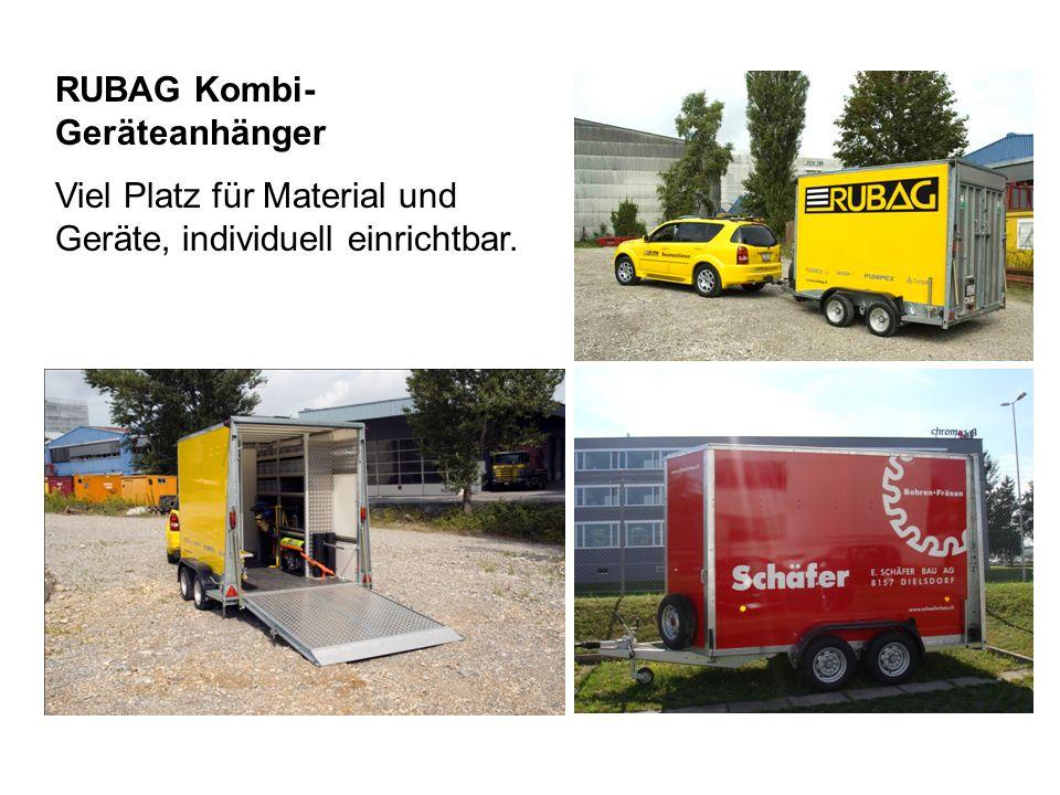 RUBAG Kombi- Geräteanhänger Viel Platz für Material und Geräte, individuell einrichtbar.