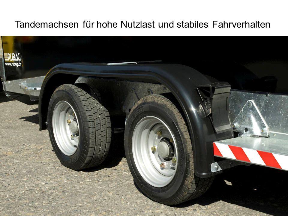 Tandemachsen für hohe Nutzlast und stabiles Fahrverhalten