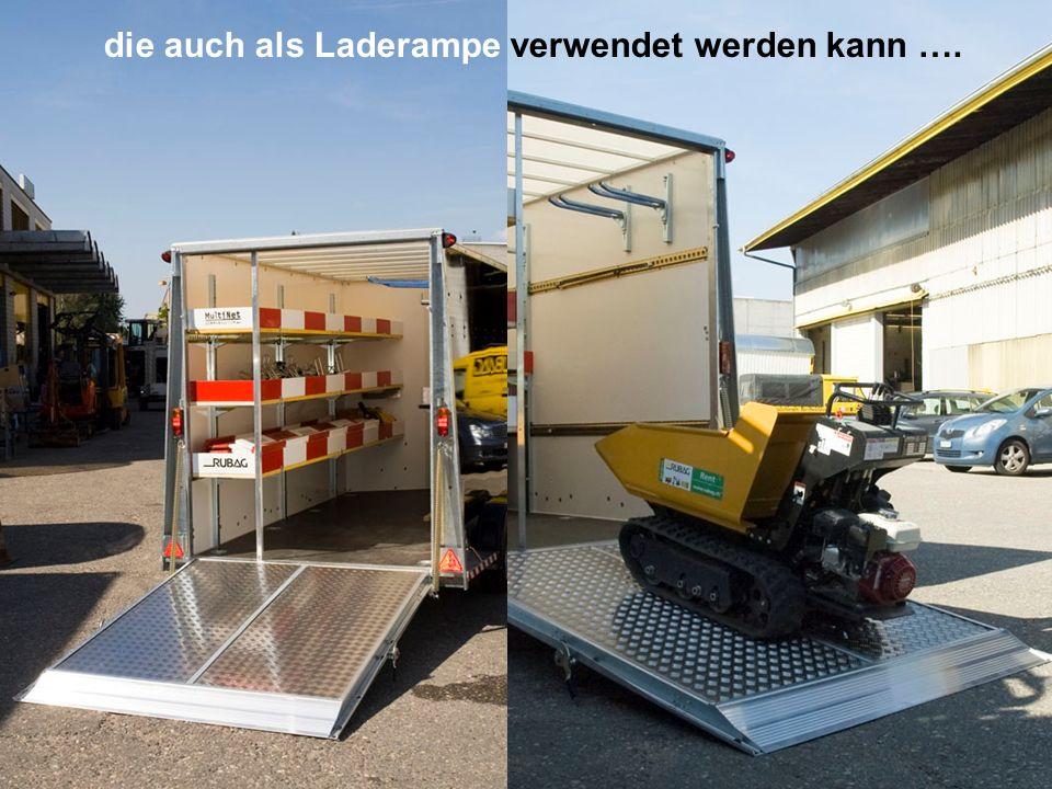 Selbst Walzen können transportiert werden. Nach Kundenwunsch: Separates Abteil vorne mit Regalen.