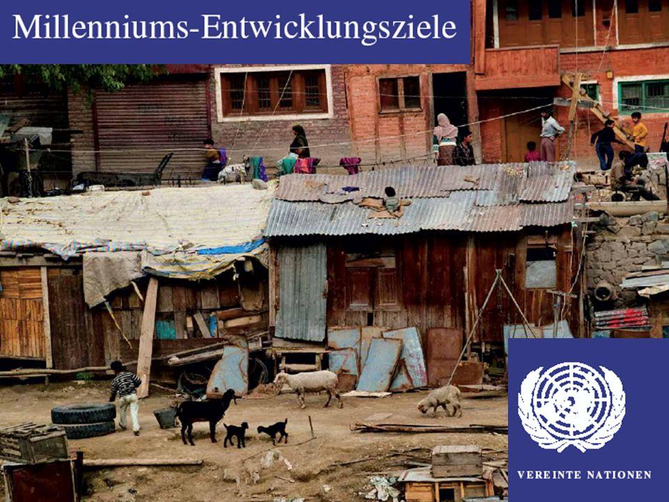 Ziel 1 Verminderung von extremer Armut und Hunger Bis 2015 soll der Anteil der Menschen, die mit weniger als einem US-Dollar pro Tag (ca.